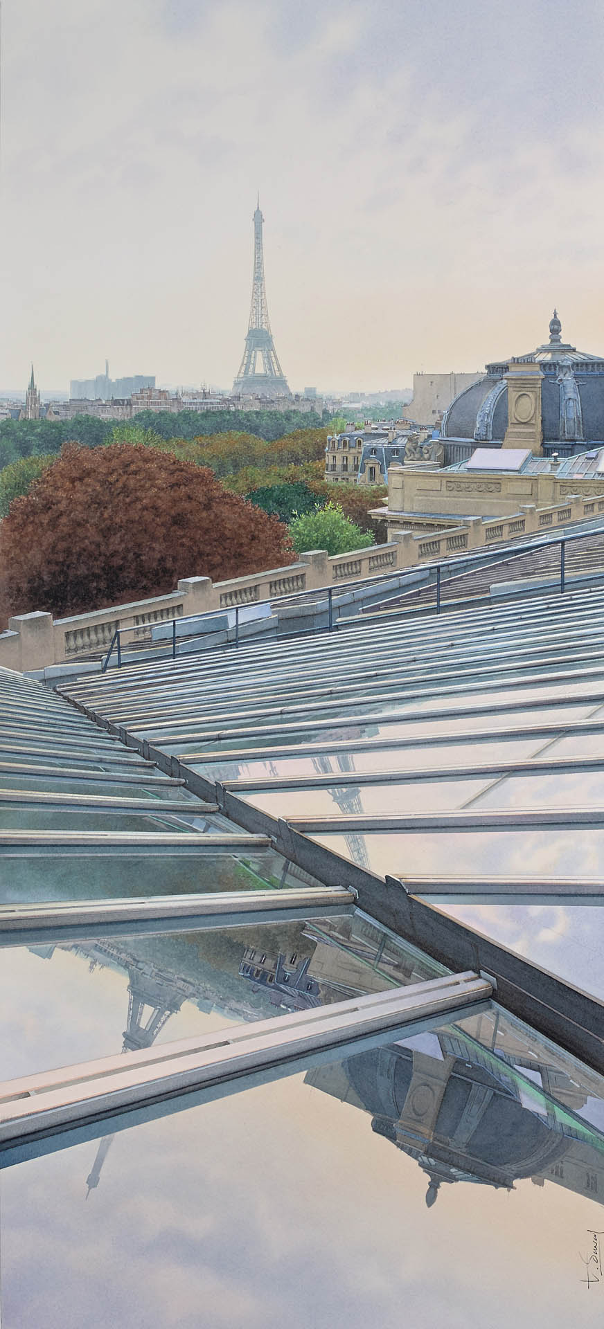 Deux tours Eiffel sur le dôme du Grand Palais de Paris
