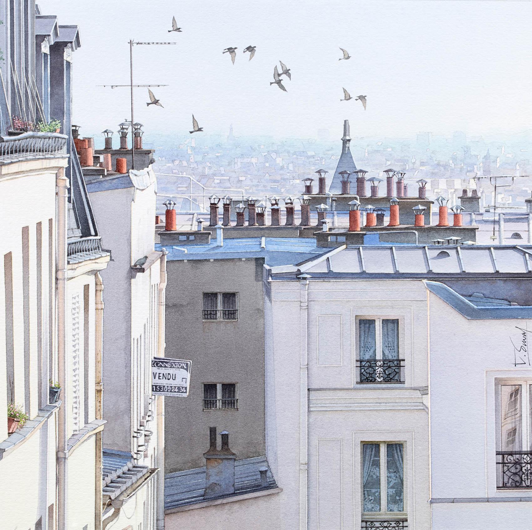 Vue imprenable sur les toits de Paris