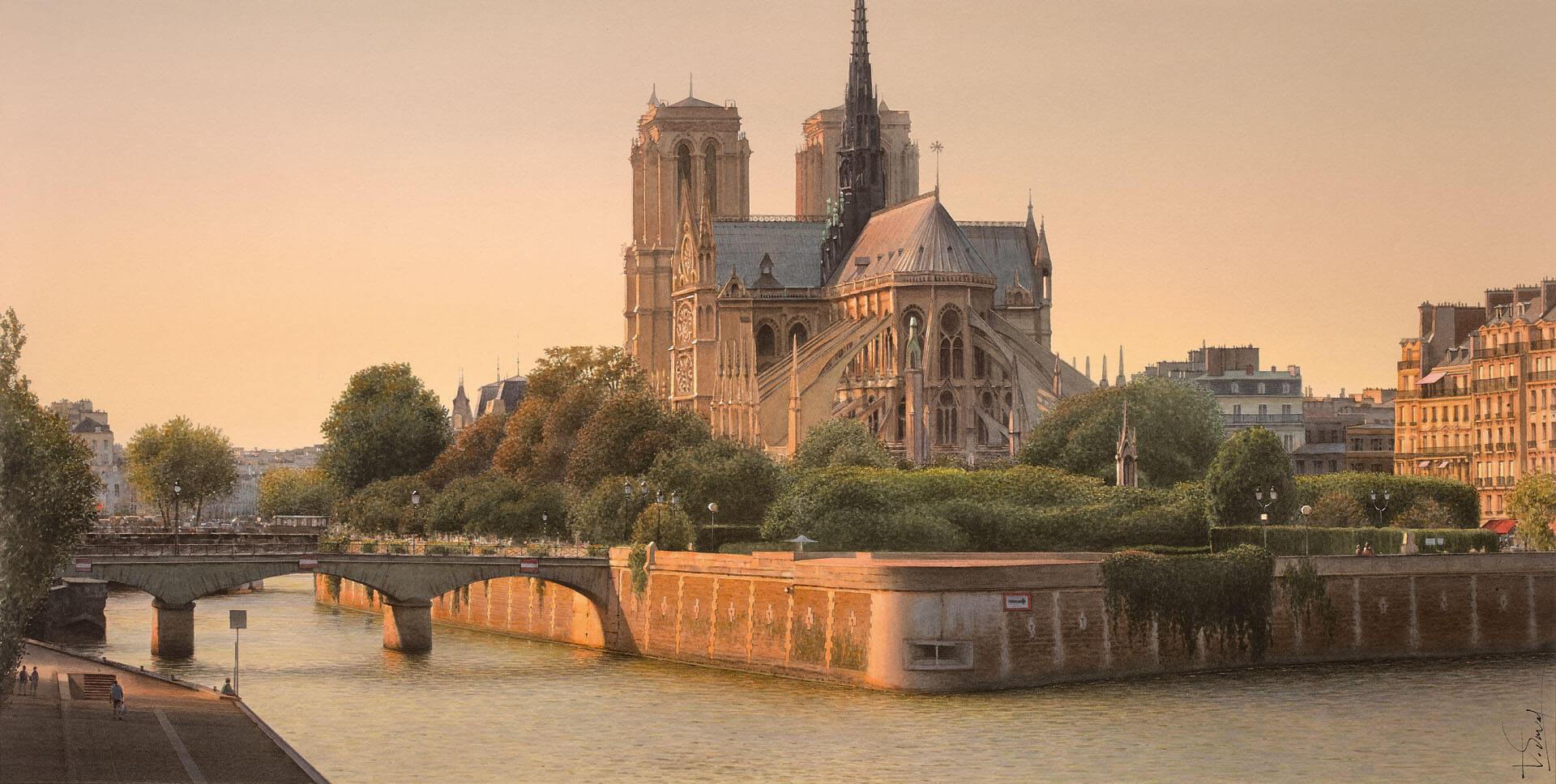 Lheure dor sur Notre Dame de Paris Thierry Duval